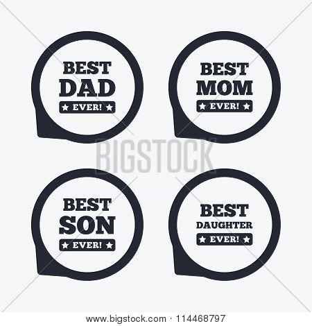 Best mom and dad, son and daughter icons. Awards with exclamation mark symbols. Flat icon pointers. poster