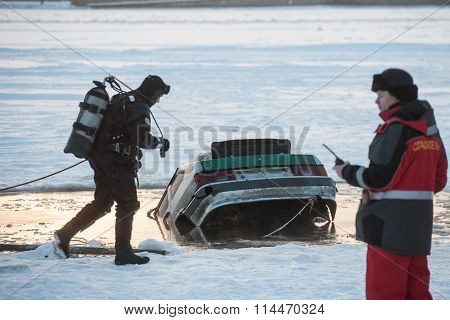Removing The Car Out Of The Ice-hole