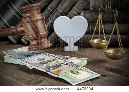 Concept For Corruption Bankruptcy Court Bail Crime Bribing Fraud Judges Gavel Soundboard And Bundle Of Dollar Cash On The Rough Wooden Textured Table Background. poster