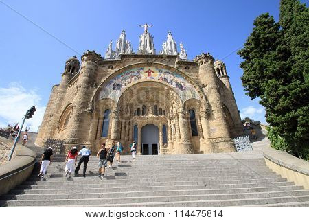 Barcelona, Catalonia, Spain - August 29, 2012: Church Of The Sacred Heart Of Jesus (the Temple Expia