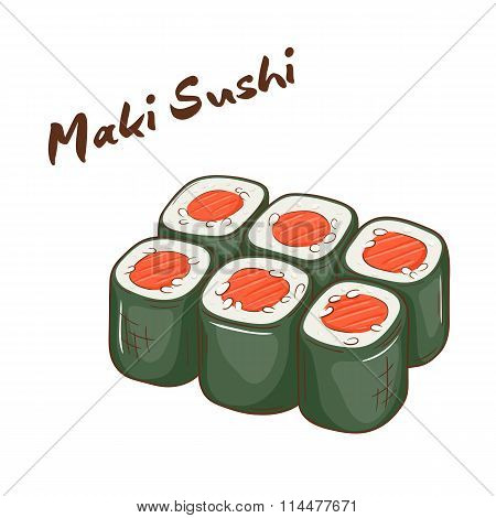 Vector Illustration Of Isolated Cartoon Hand Drawn Fast Food. Maki Sushi