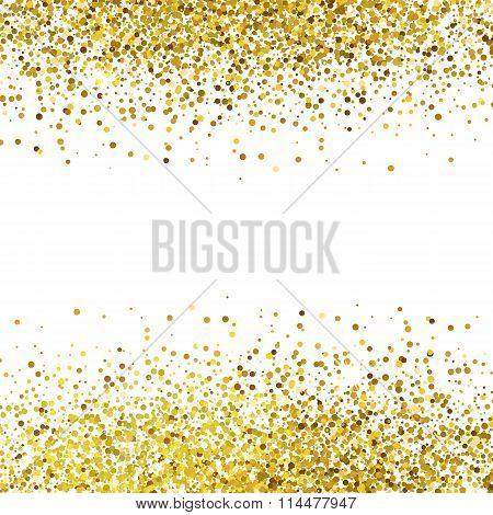 Shiny Golden Glitter On White Background