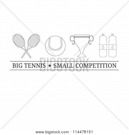 Logo design template with outline tennis items.