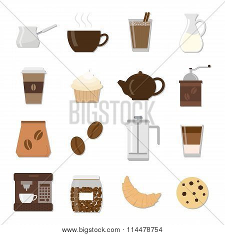 Set of different flat coffee icons.