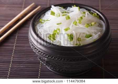 Chinese Cellophane Noodles Close Up In A Bowl. Horizontal