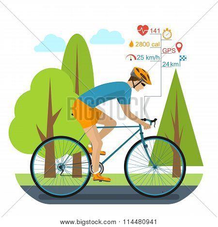 Cyclist On The Sports Bike
