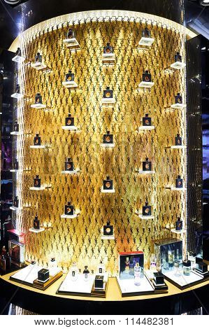 HONG KONG - DECEMBER 25, 2015: Yves Saint Laurent store in Hong Kong. Yves Saint Laurent YSL is a luxury fashion house founded by Yves Saint Laurent and his partner, Pierre Berge.