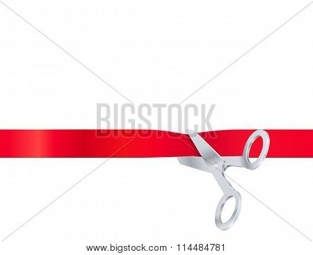 Scissors cut the red ribbon, isolated on white background