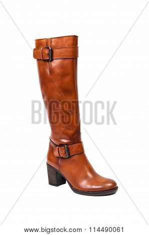 Brown Autumun Leather Boots For Women.