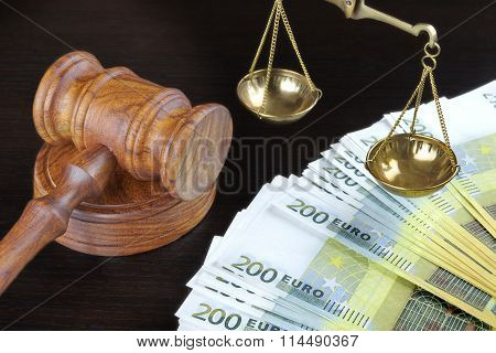 Judges Gavel, Scale Of Justice And Euro Cash On Table