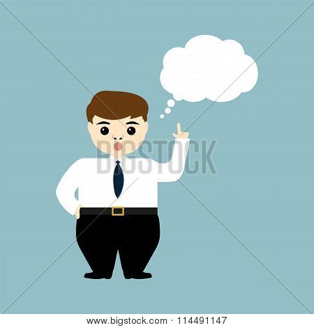 Young Businessman Showing Thumb Up And Thinks Aloud