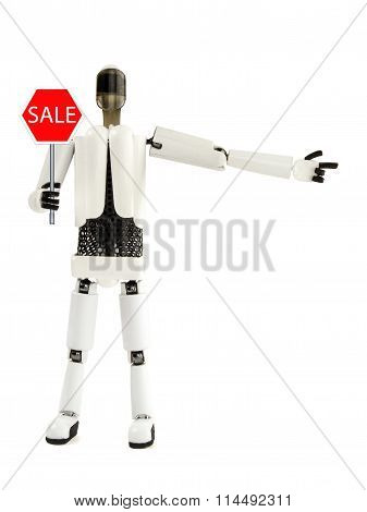 The Robot Shows A Sign Of Sale And Specifies The Direction