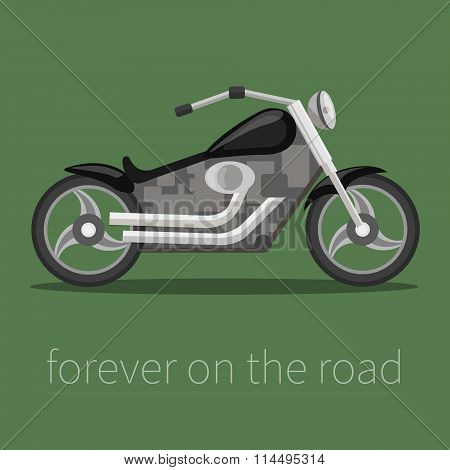 Vector illustration in a flat style. Cool motorcycle bike.