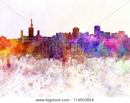 Lagos Skyline In Watercolor Background