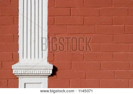 Red Painted Brick Wood Pillar