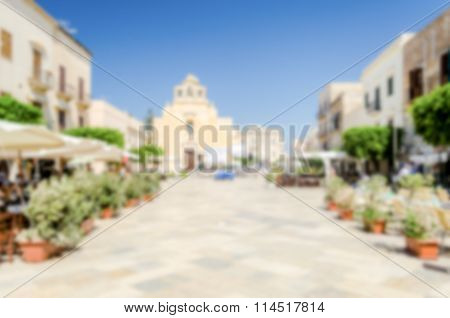 Defocused Background With The Main Street Of Favignana Island, Italy