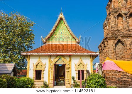 Wat Phrathat Hariphunchai temple Lamphun province Thailand.