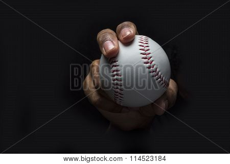 Throwing Baseball with Curveball Grip on black background poster