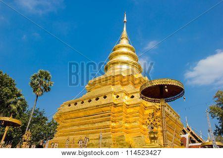 Golden Pagoda at Wat Phra That Sri Chom Thong Thailand. poster