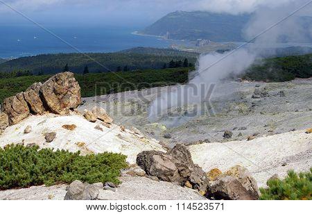 Fumarole  on vulcan Golovnina , island Kunashir