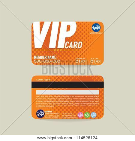 Front And Back VIP Member Card Template Vector Illustration. EPS 10 poster