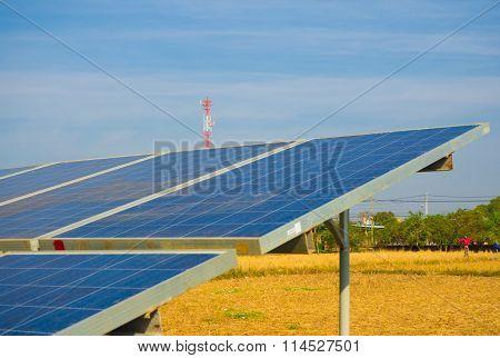 Solar Cell Power With Blue Sky