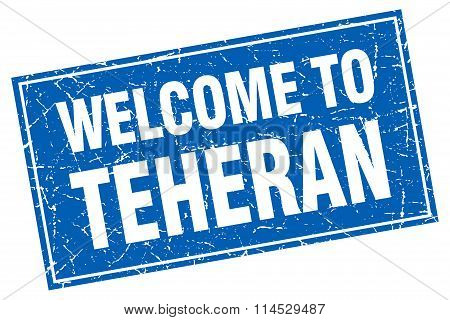 Teheran blue square grunge welcome to stamp