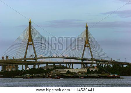 view of suspension bridge across Choa Phraya river Bangkok Thailand