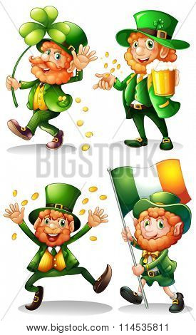 Leprechaun with green leaves and gold illustration