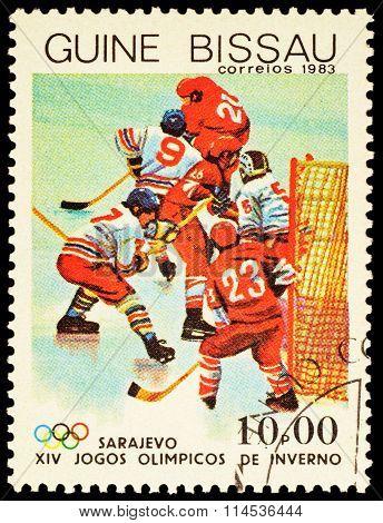 Hockey Match On Post Stamp