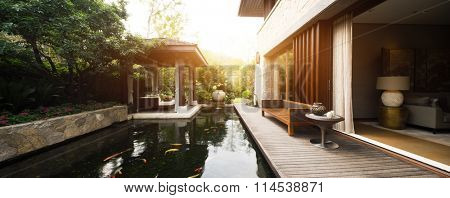 wooden bench on wooden floor in backyard with a pond
