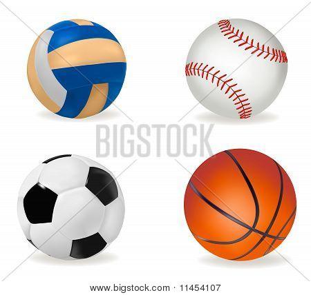 Große Reihe von Sportbälle