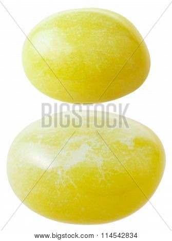Two Calcite Gemstones Isolated On White