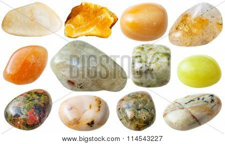 Set From 12 Pcs Yellow, Brown And Green Gemstones