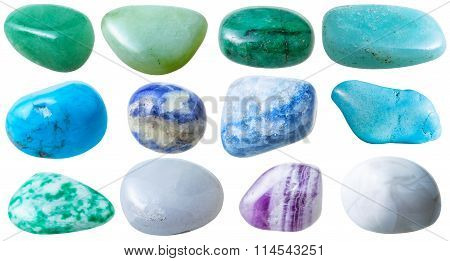Set From 12 Pcs Blue, Green, White Gemstones