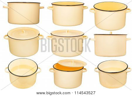 Set Of Large Enamel Stockpots Isolated On White