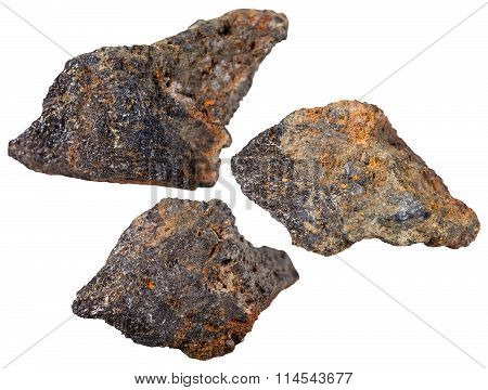 Three Pieces Of Psilomelane (black Hematite) Stone