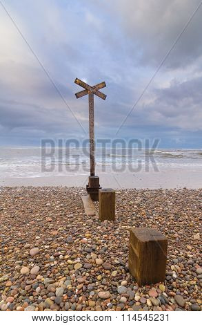 Old, weathered groyne (or groin) on Findhorn beach, Scotland