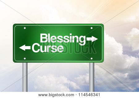 Blessing, Curse Green Road Sign, Business Concept..blessing, Curse Green Road Sign, Business Concept