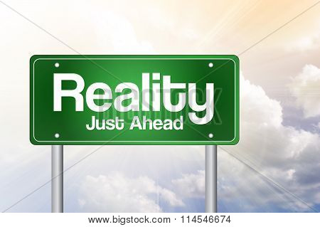 Reality Green Road Sign concept, presentation background