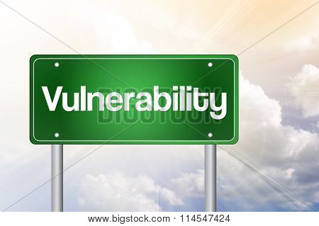 Vulnerability Just Ahead Green Road Sign, Business Concept