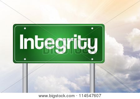 Integrity Green Road Sign, Business Concept