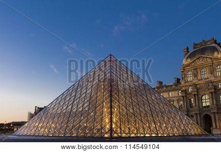 The Louvre Pyramid, Paris, France.