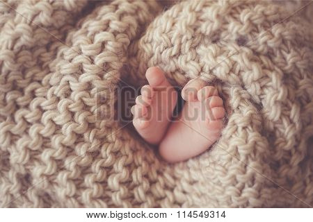 Little feet a newborn baby in a beige blanket