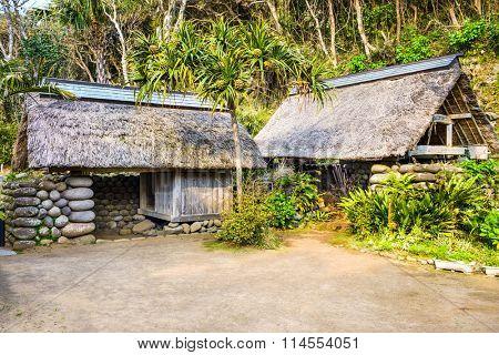 Village huts on Hachijojima Island, Tokyo, Japan.