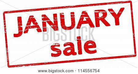 Rubber stamp with text January sale inside vector illustration
