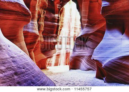 Sun Beam In Antelope Canyon, Arizona