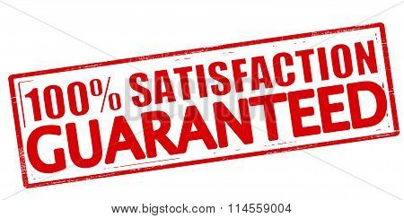 Rubber stamp with text one hundred percent satisfaction guaranteed inside vector illustration poster