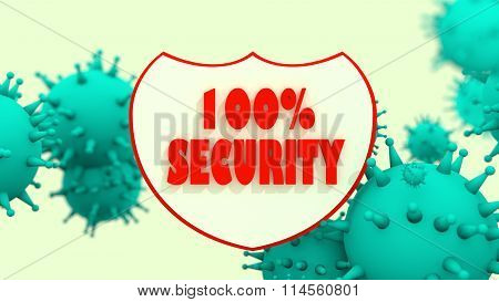 Shield With Security Text And Viruse Models. Antivirus Programm Abstract