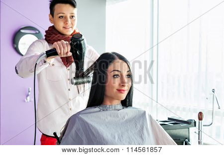 beauty saloon. Spa. Hairdresser makes styling